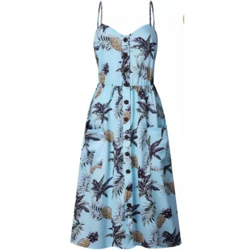 فستان صيفي طويل للنساء بدون اكمام بعدة الوان