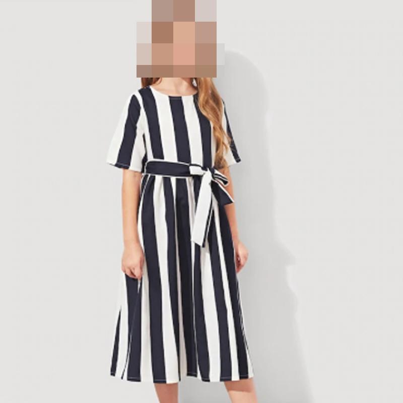 فستان اليجانت للبنات الصغيرات كم قصير (نص كم) مع حبل مربوط على الخصر